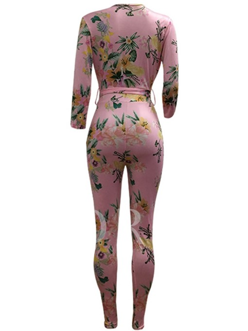V-Neck Floral Print Long Sleeves Women's Jumpsuits