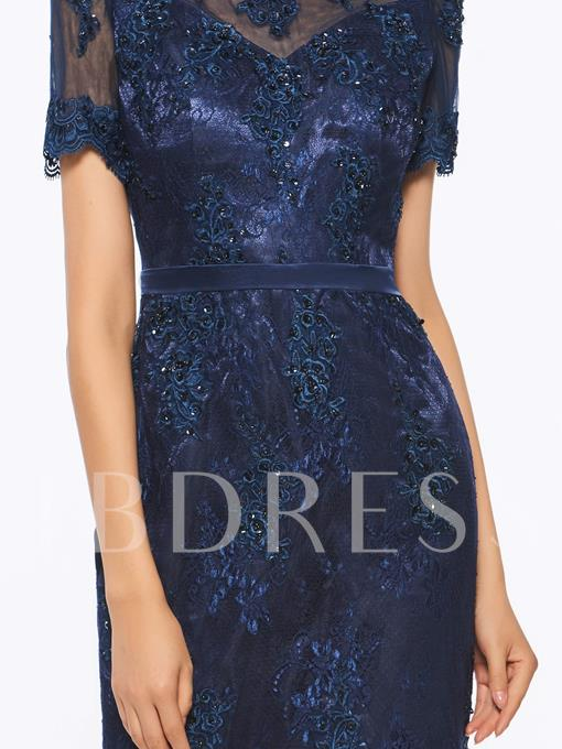 Short Sleeves Lace Beading Sheath Mother Of The Bride Dress