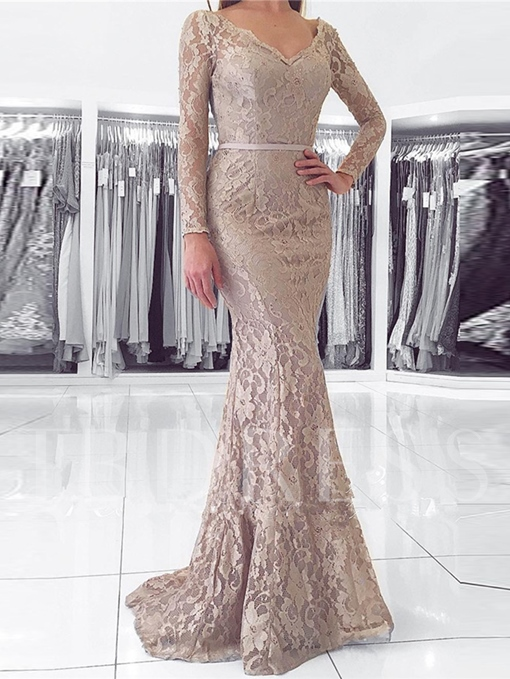 Long Sleeves V-Neck Trumpet Button Lace Sashes Sweep Train Evening Dress