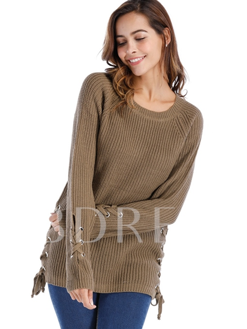 Round Neck Lace-up Plain Women's Sweater