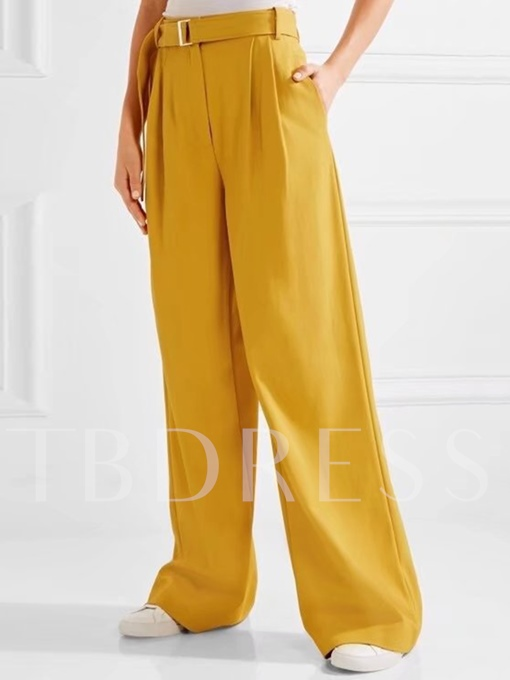 Loose Belt Full Length Women's Palazzo Pants