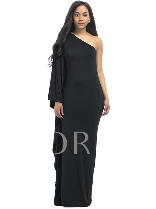 Plain Bodycon One Shoulder Women's Maxi Dress