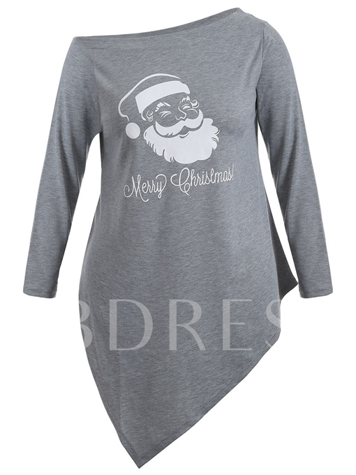 Christmas Character Print Oblique Collar Women's T-shirt