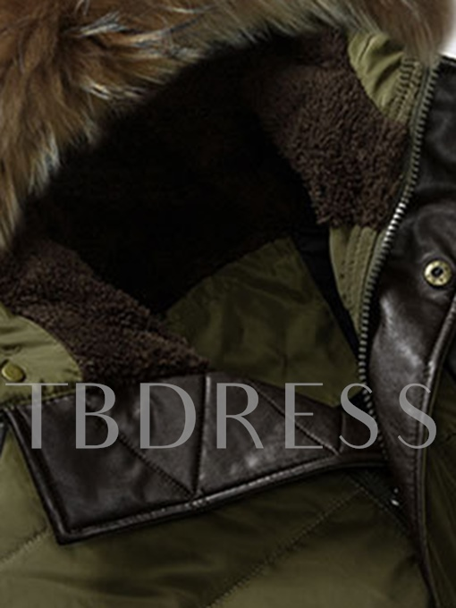 Fur Hooded Midi Pattern Solid Color Thicken Warm Men's Down Coat