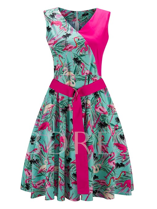 Double-Layered Buckled Printing Women's Day Dress