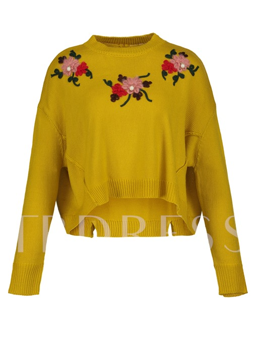 Round Neck Floral Pullover Vacation Women's Sweater