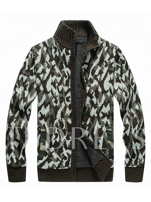 Stand Collar Camouflage Thicken Warm Zipper Pullover Slim Knit Men's Sweater