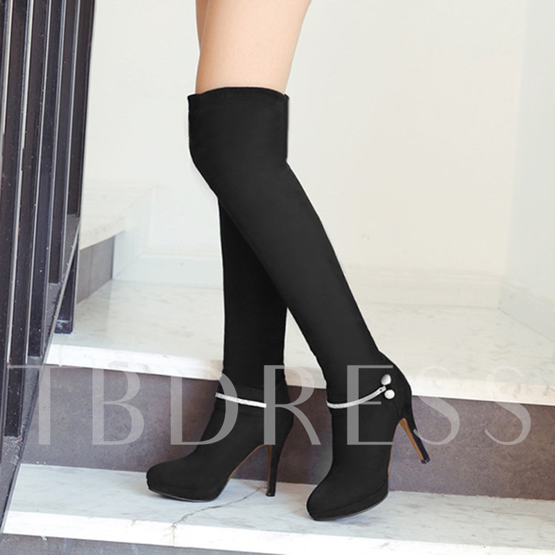 Over the Knee Boots Rhinestone Slip On High Heel Shoes for Women