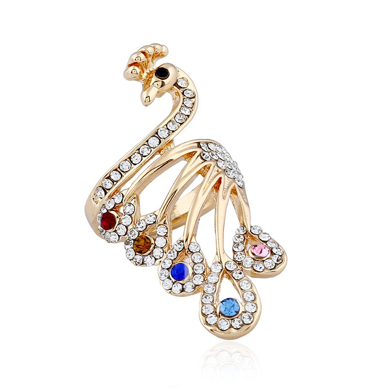 Rhinestone Peacock Alloy Diamante Knuckle Joint Conjoined Ring
