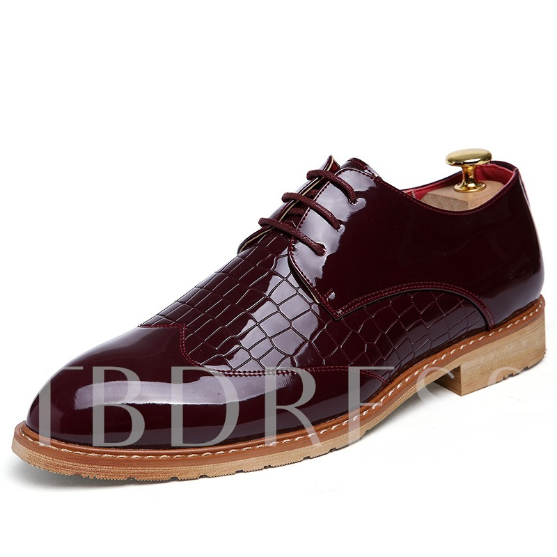 Stone Pattern Patent Leather Professional Shoes for Men