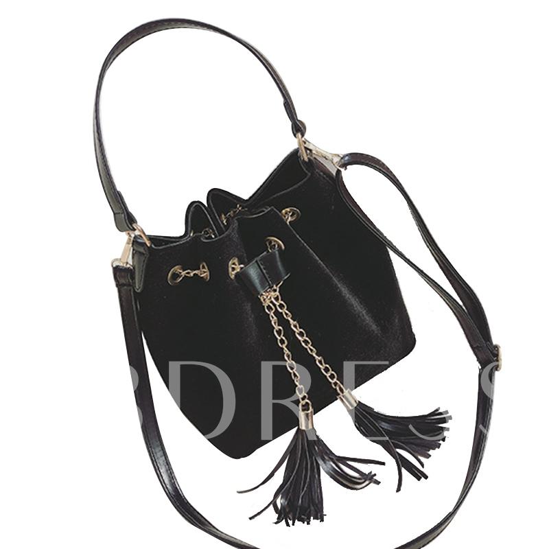 Casual Solid Color Velvet String Cross Body Bag