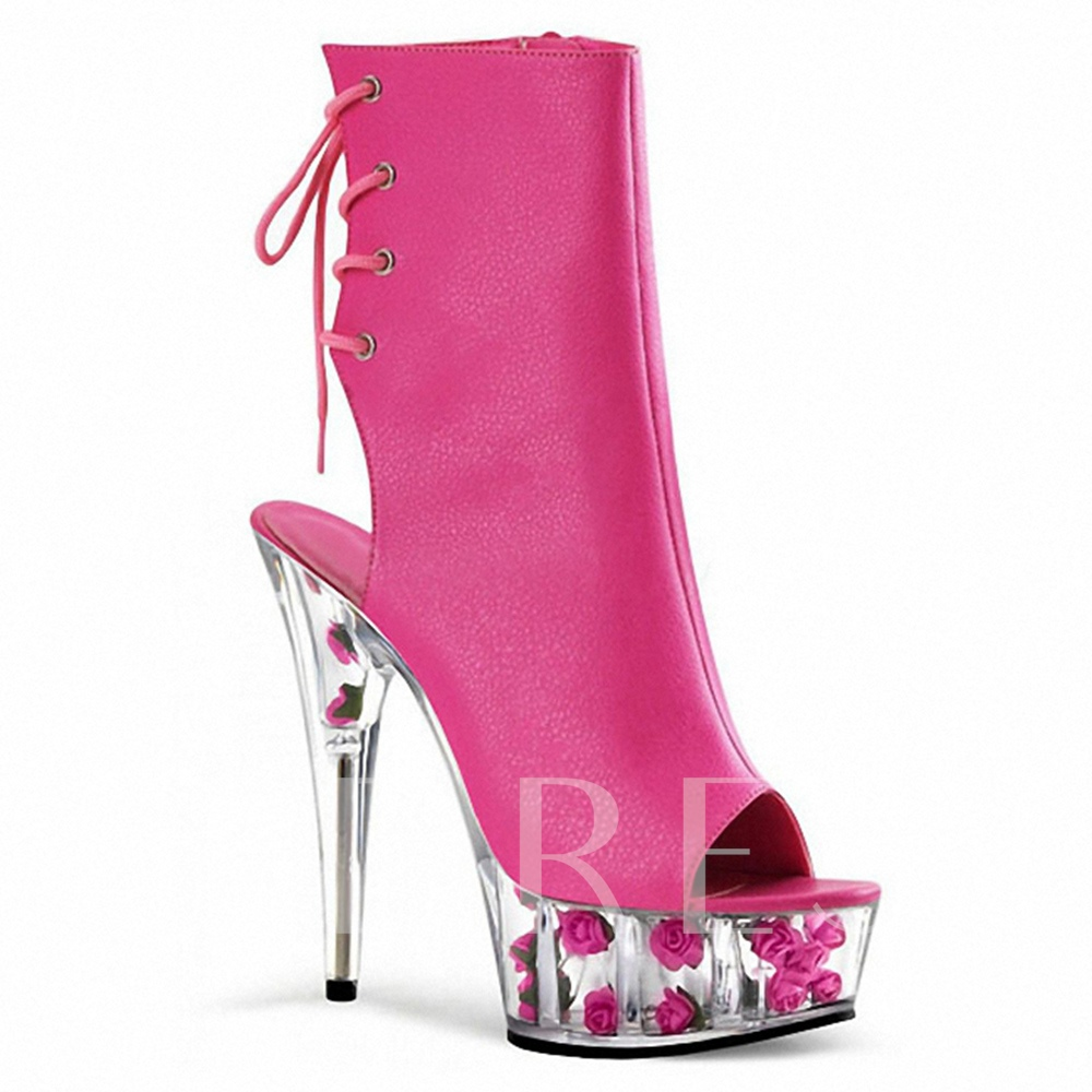 Hollow Sole with Flower Women's Rose Boots Wedding Shoes for Bride
