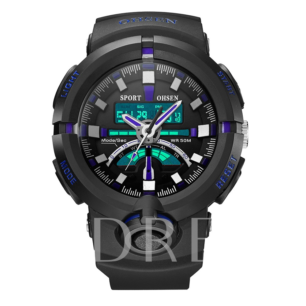 LED Alloy Silicone Hardlex Quartz Analogue Display Men's Watches