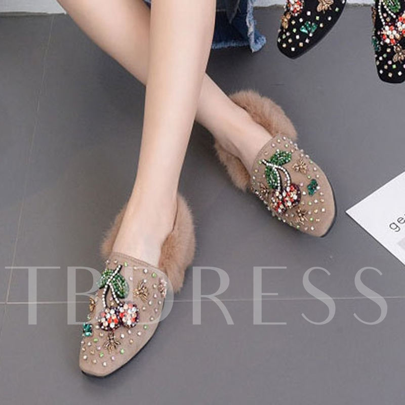 Floral Appliques Rhinestone Flat With Plush Women's Shoes