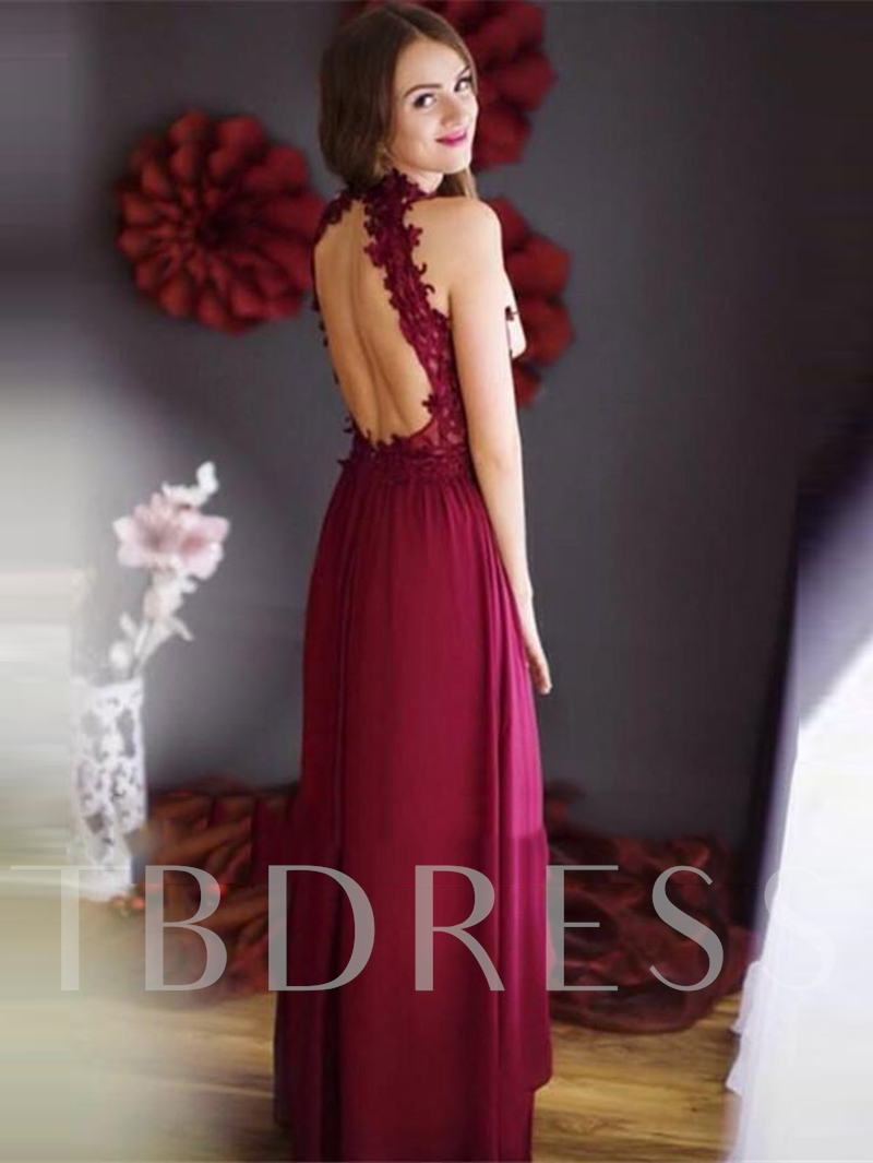A-Line Backless Appliques Jewel Floor-Length Evening Dress