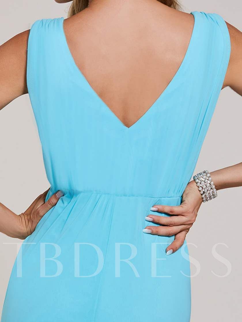 A-Line V-Neck High Waist Beaded Evening Dress
