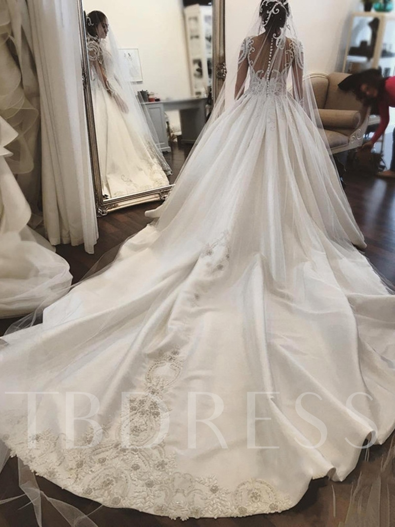 Illusion Neck Long Sleeve Beaded Appliques Wedding Dress
