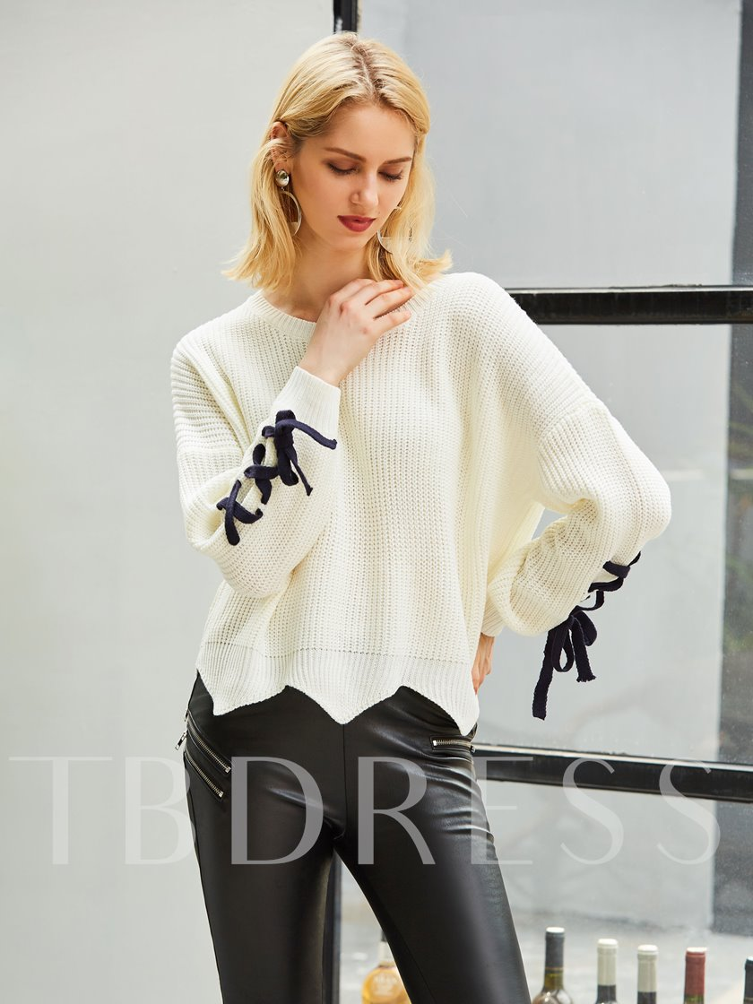 Plain Lace-Up Long Sleeve Round Neck Women's Sweater