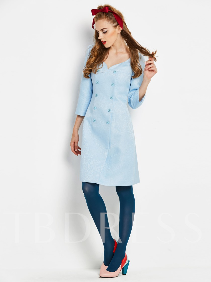 Light Blue Double-Breasted Women's Day Dress