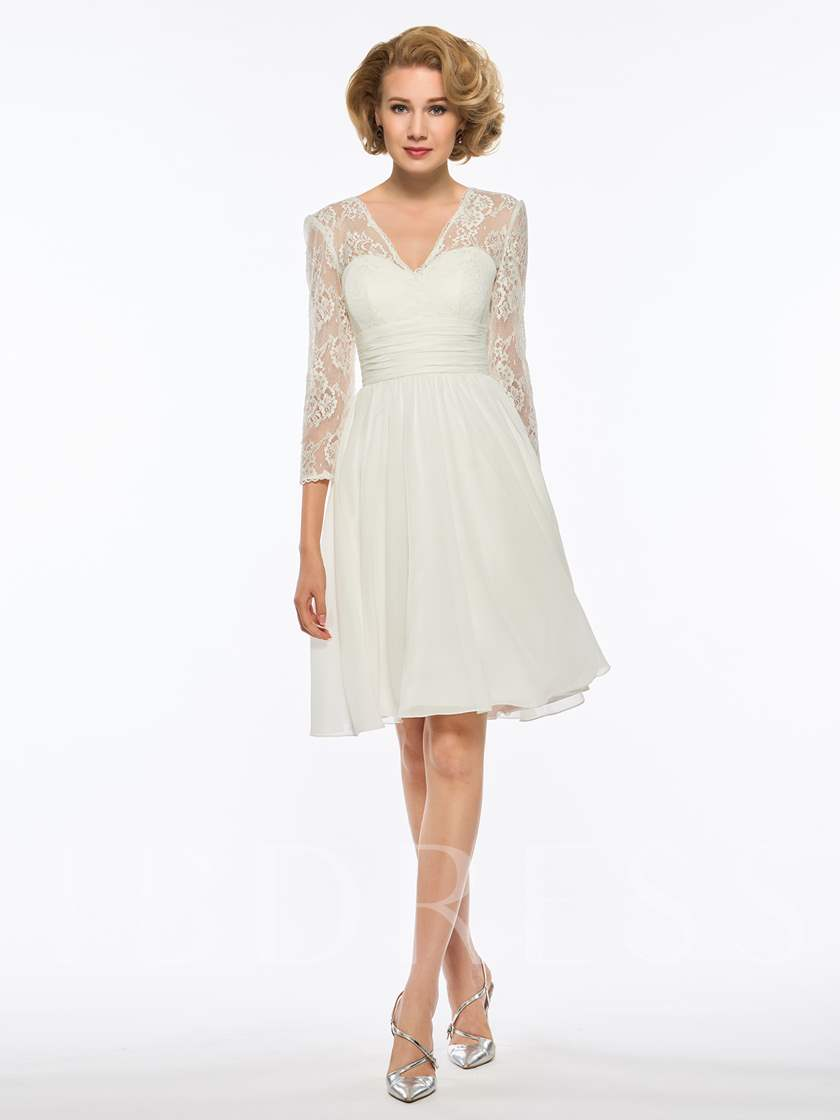 3/4 Length Sleeves Lace Short Mother Of The Bride Dress