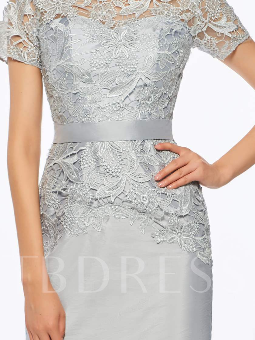 Short Sleeves Lace Sheath Short Mother of the Bride Dress