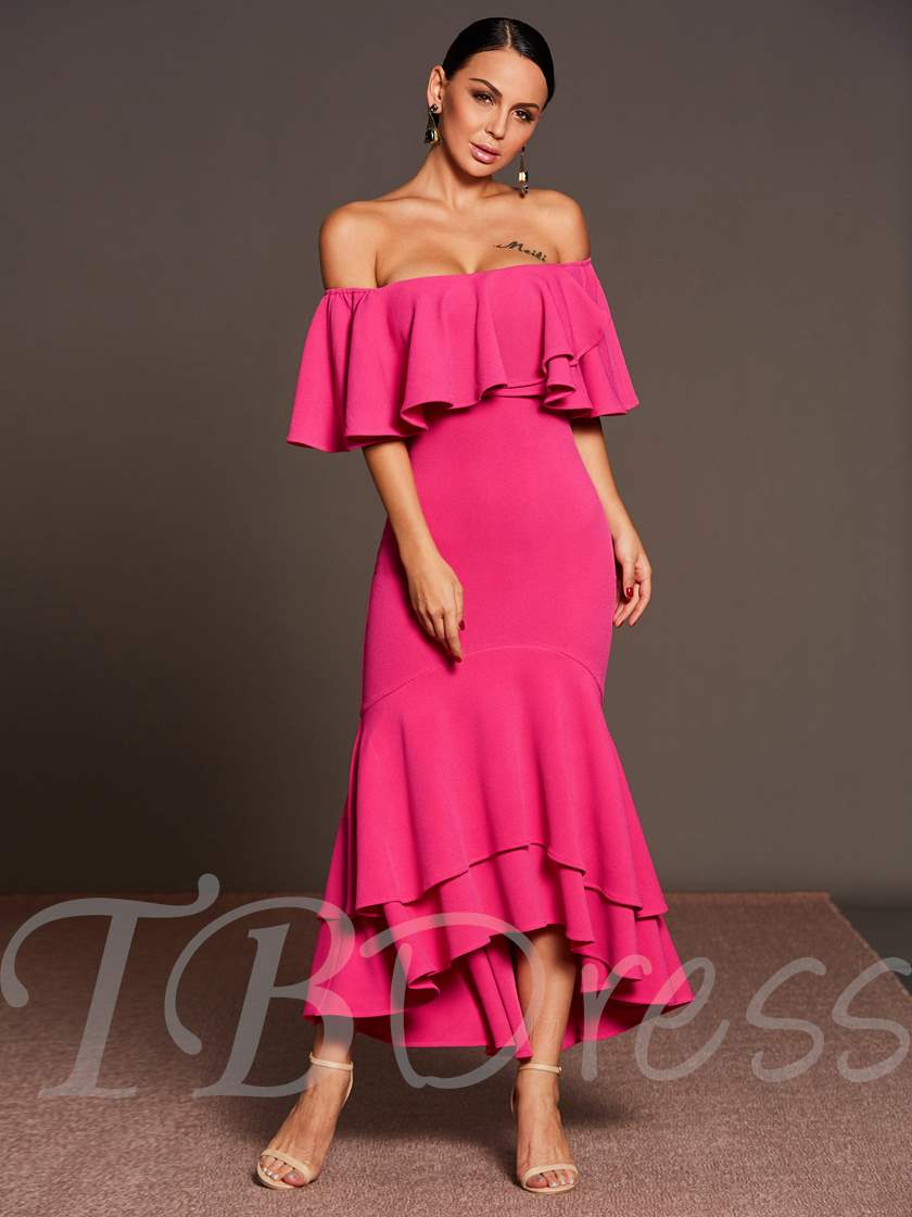 off-Shoulder Rose Asym Women's Maxi Dress