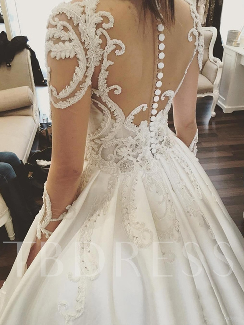 Ball Gown Beaded Appliques Long Sleeve Wedding Dress