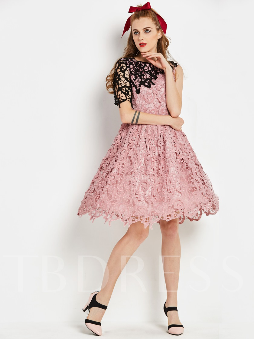 Pink Sleeveless Women's Lace Dress
