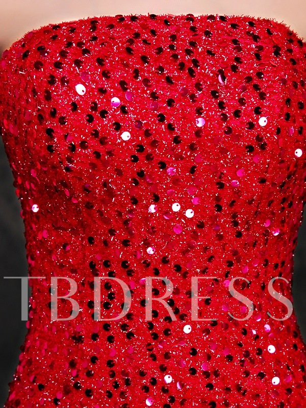 Strapless Mermaid Beading Sequins Court Train Evening Dress