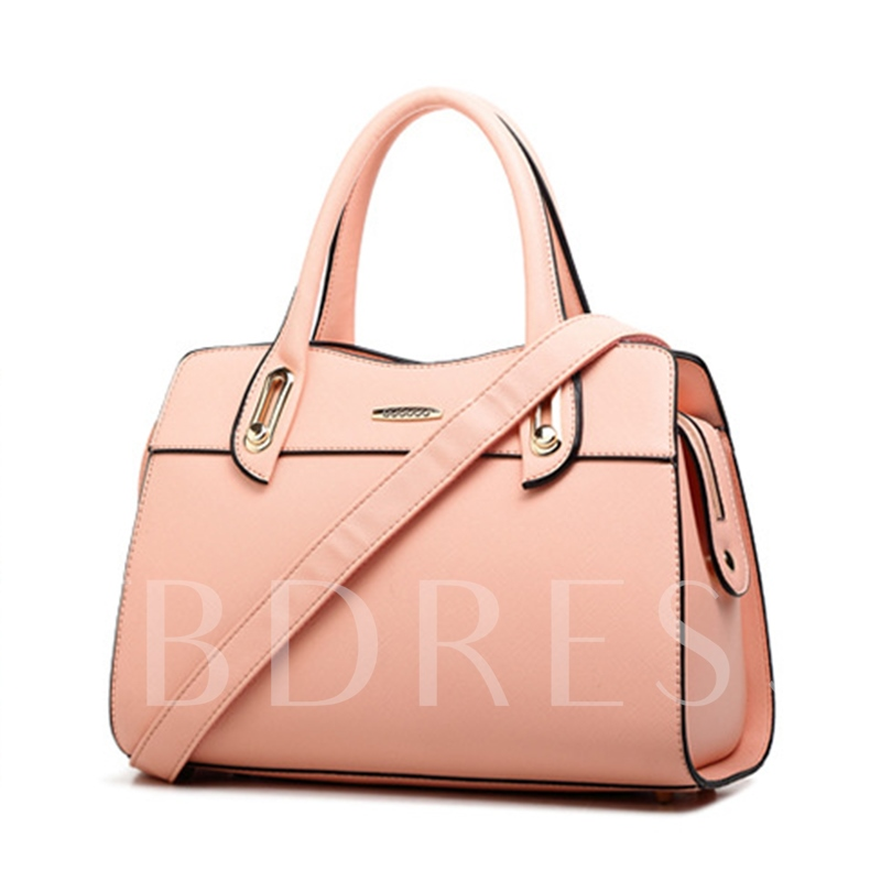 Occident Style Solid Color Women Zipper Tote