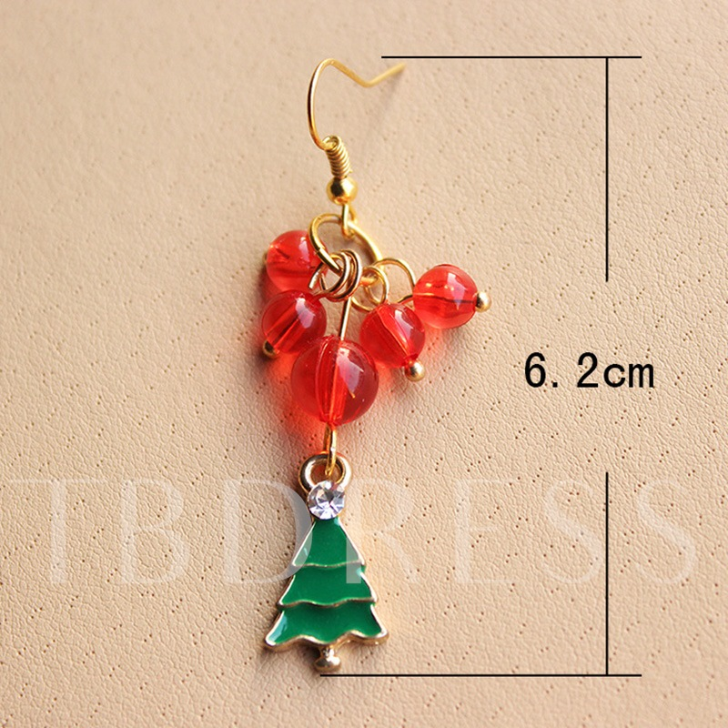 Christmas Trees Cloth Hollow Out Artificial Pearl Alloy Rhinestone Earrings