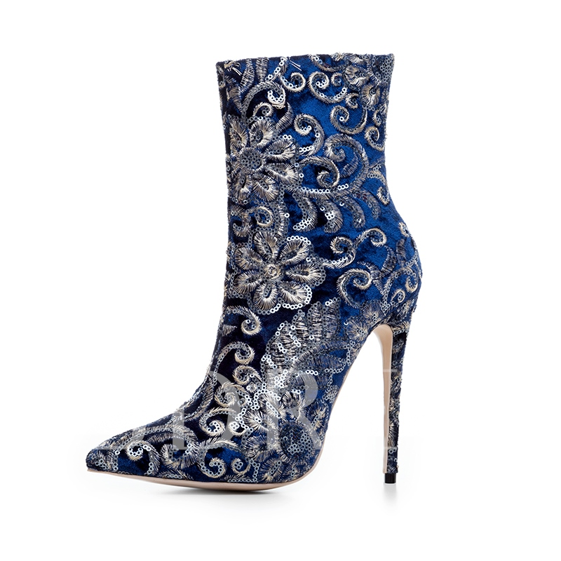 Plus Size Shoes Blue/Burgundy Boots with Embroidery
