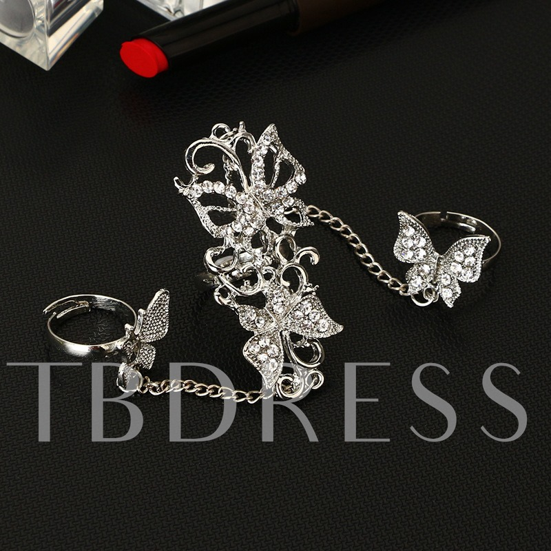 Butterfly Design Diamante Alloy Knuckle Joint Conjoined Ring