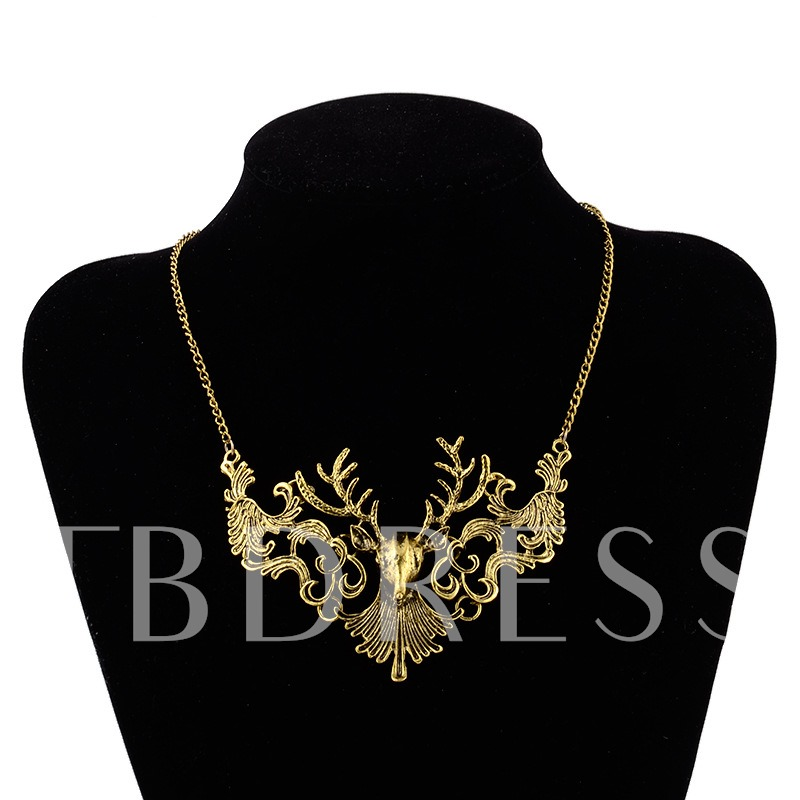 Christmas Alloy Overgild Silver Plated Hollow Out Necklace