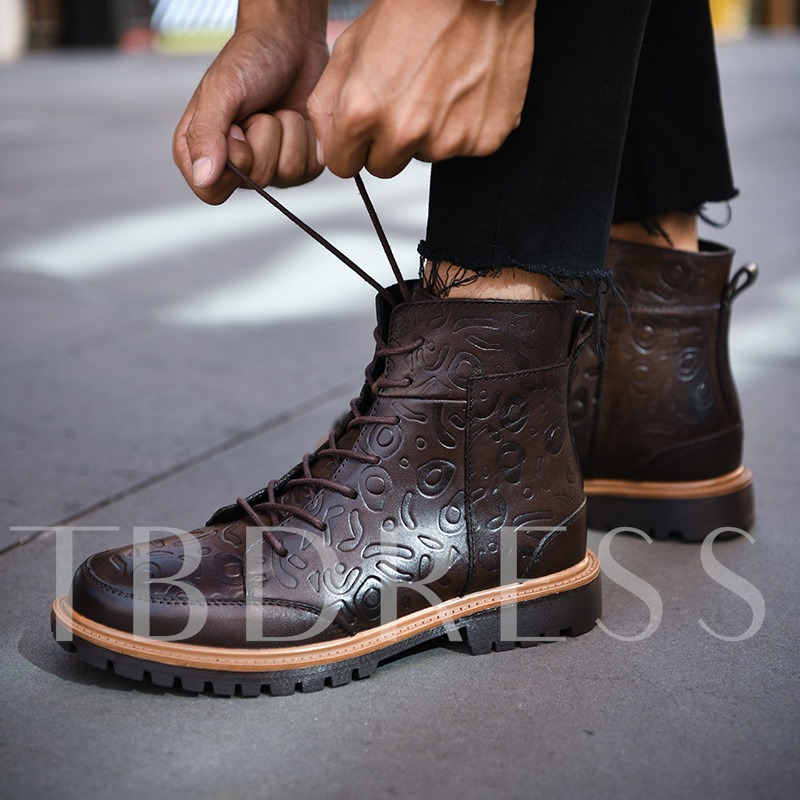 Embossed Lace Up Front Martin Boots Ankle Shoes