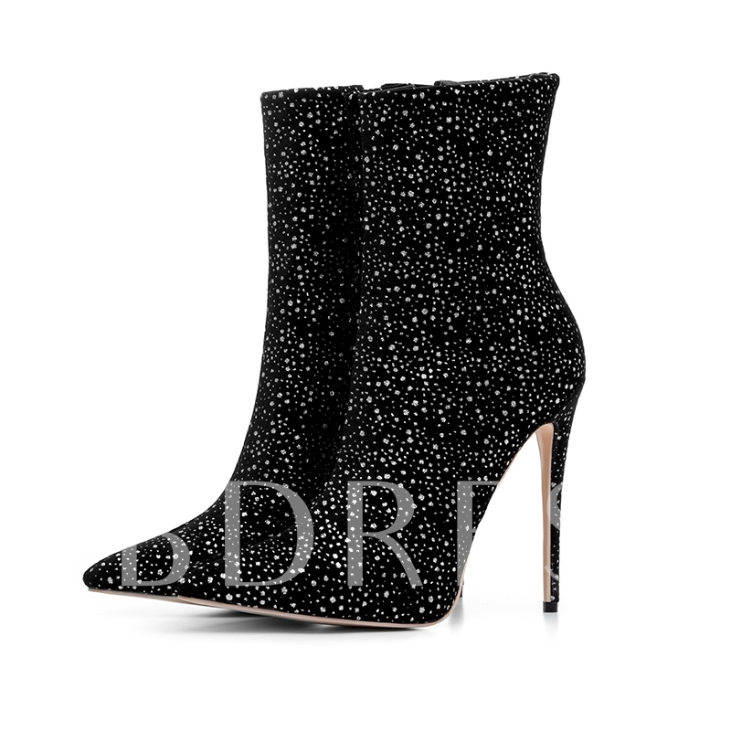 Plus Size Shoes Sequin Black High Heel Boots for Women