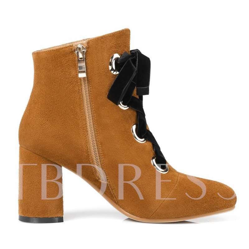 Suede Thick Heel Cross Strap Women's Ankle Boots