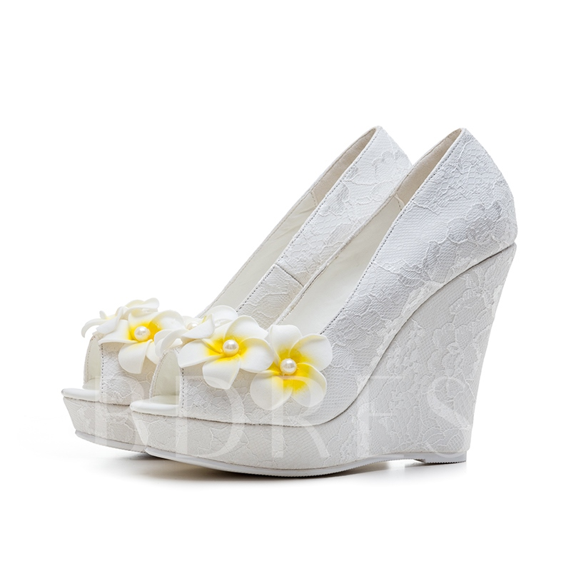 Buy Plus Size Wedge Heel Appliques Floral White Lace Wedding Shoes for Bride, Spring,Summer, 13004687 for $56.99 in TBDress store