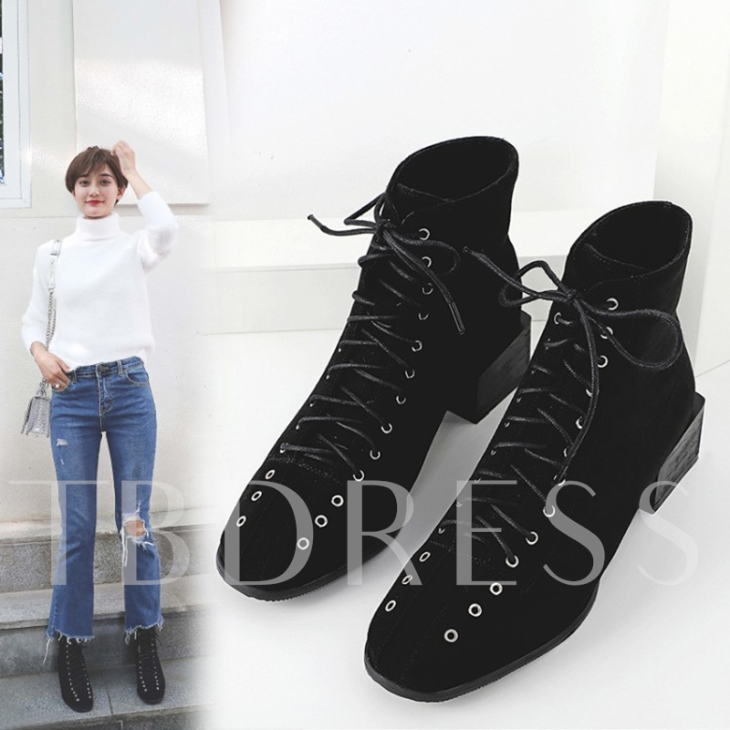 Lace Up Cross Strap Chunky Heel Women's Ankle Boots
