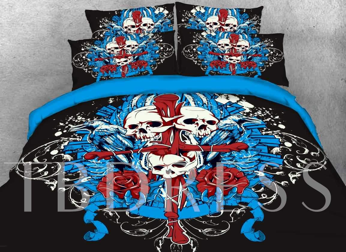 Halloween Skull and Cross Printed 4-Piece 3D Bedding Sets/Duvet Covers