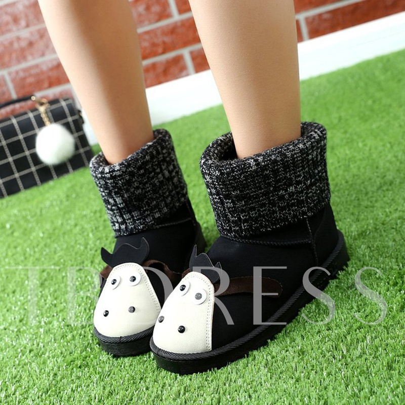 Knit Bootleg Antiskid Shoes Flat With Women's Sweet Boots