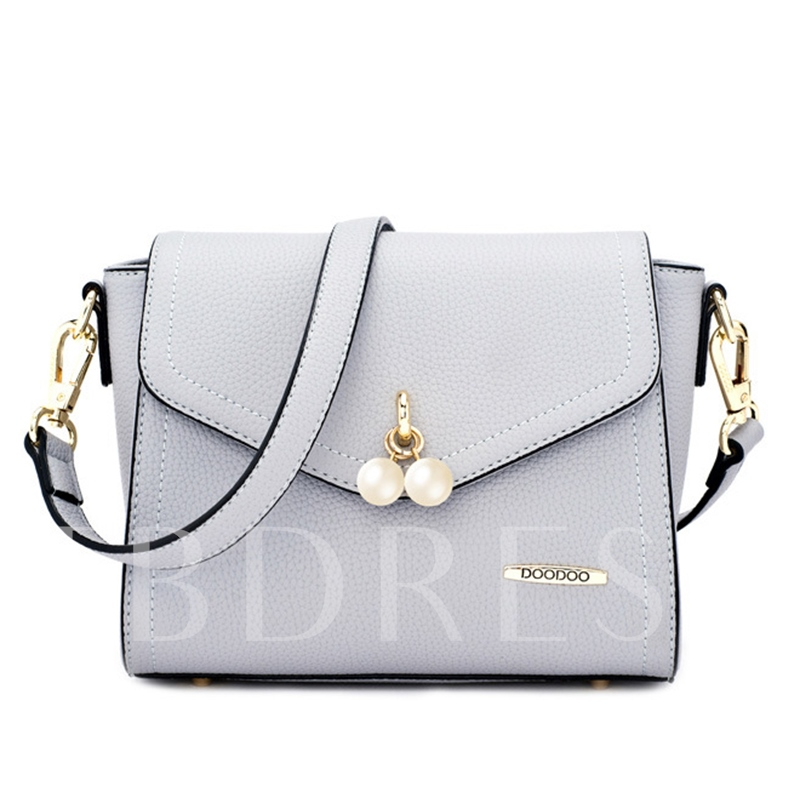 Solid Color Pearl Decoration Cross Body Bag
