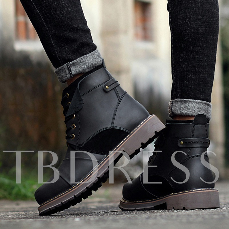 Patchwork Lace Up Men's Martin Boots Ankle Shoes