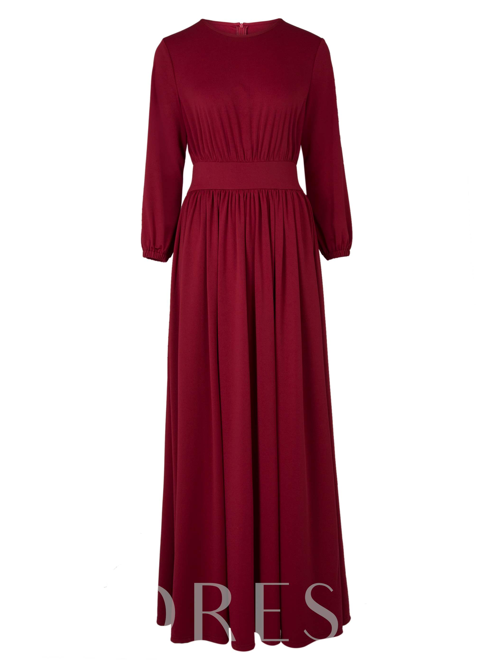 Buy Burgundy Long Sleeve Pleated Women's Maxi Dress, Clocolor, 12997232 for $20.99 in TBDress store