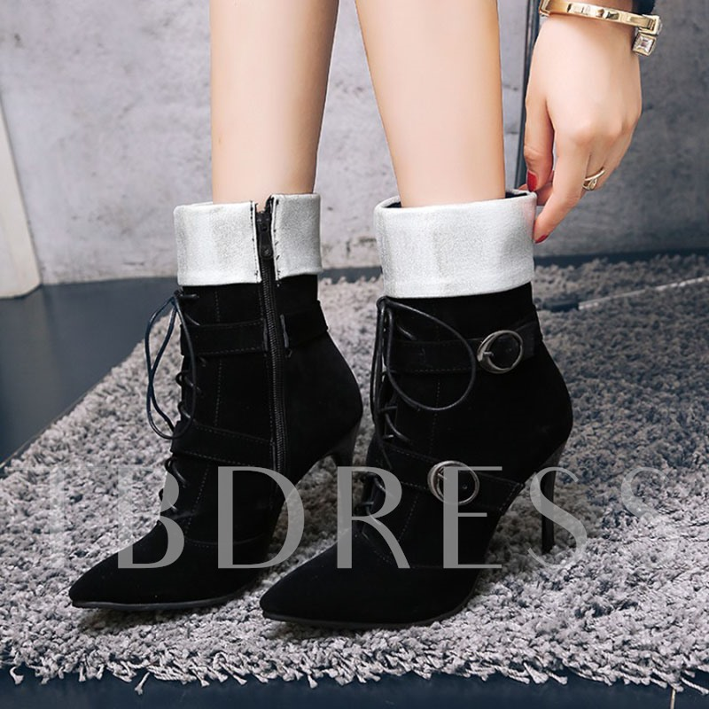 Plus Size Shoes Cross Strap Side Zipper Buckle High Heel Boots for Women