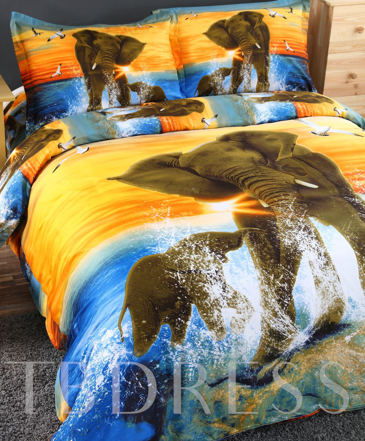 Elephant and Cub in Water Printed Cotton 3D 4-Piece Bedding Sets/Duvet Covers