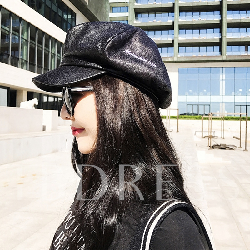 Black Artificial Leather Korean Style Beret Hats
