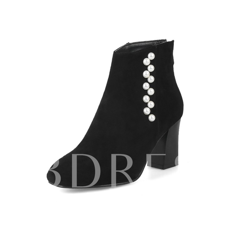 Plus Size Shoes Suede Beads Zipper Chunky Heel Boots