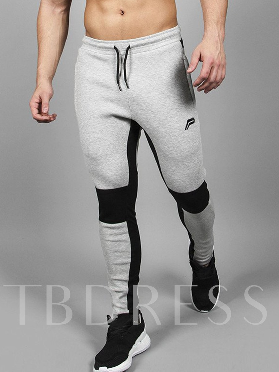 Buy Lace-up Elastic Patchwork Slim Fit Running Men's Sports Pants, Spring,Summer,Fall, 13005464 for $24.99 in TBDress store