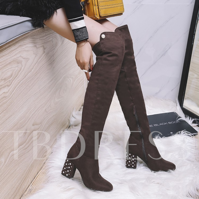 Thick Heel with Beads Suede Over the Knee Boots for Women